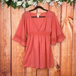 Boho Hippie Bell Sleeve Lace Tunic Top 1173CH3